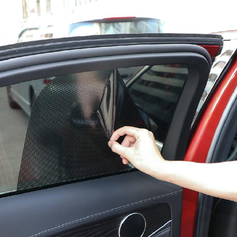 2 ชิ้น 72 X เซนติเมตร 52 เซนติเมตรสีดำพีวีซีป้องกันรังสียูวีม่านบังแดดรถยนต์ด้านข้างหน้าต่างครีมกันแดดฟิล์ม 555
