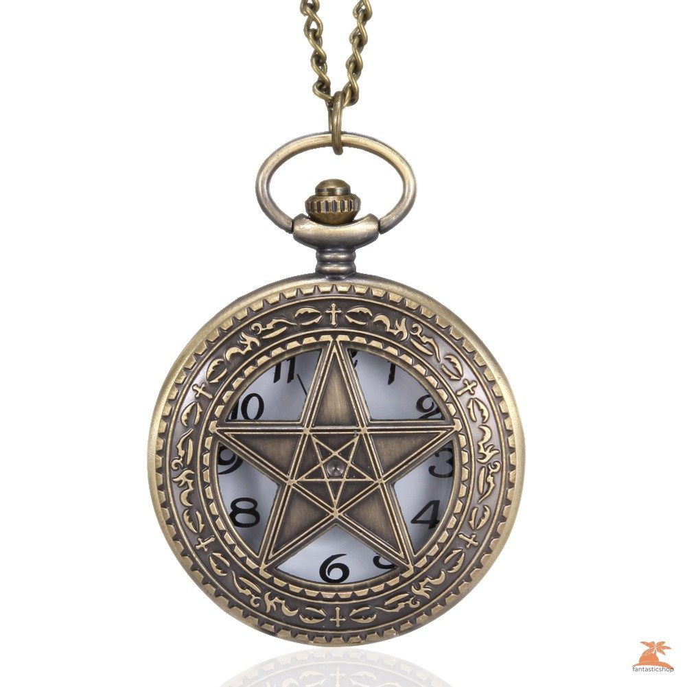 #Đồng hồ bỏ túi# 1pc Men Women Quartz Pocket Watch 5-Pointed Star Hollow Carved Case with Chain