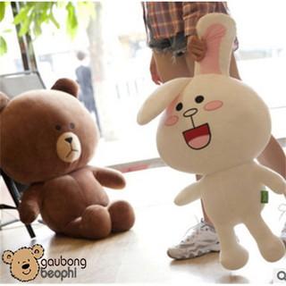 Bộ Đôi Gấu Bông Brown Nâu Và Thỏ Cony Trắng – Vải Nhung Siêu Mịn – Quà Tặng Valentine 14/2 Cho Nàng