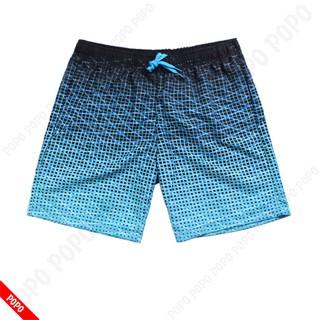 Quần bơi nam lửng XANH hoa văn, quần đi bơi mau khô, thoáng khí chất liệu cao cấp