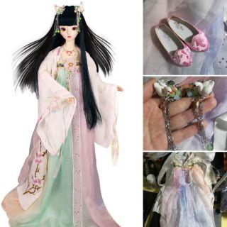 Trang phục cổ trang búp bê BJD 1/3 60cm Hồng đào thiên nga kèm giày và phụ kiện trang sức