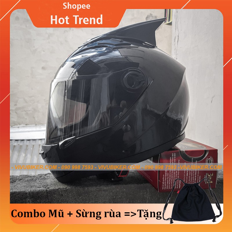 Combo mũ bảo hiểm Fullface AGU đen bóng - Sừng gắn nón bảo hiểm tặng kèm balo dây rút - Nón bảo hiểm fullface AGU đen