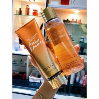 Set xịt thơm và dưỡng toàn thân Victoria's Secret mùi Amber Romance siêu hot