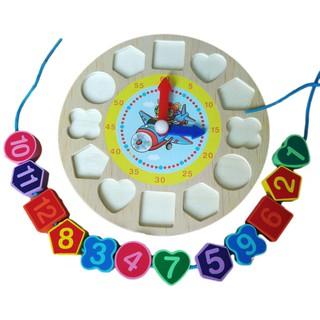 Đồng hồ xâu vòng hình khối. Đồ chơi bằng gỗ thông minh cho bé.