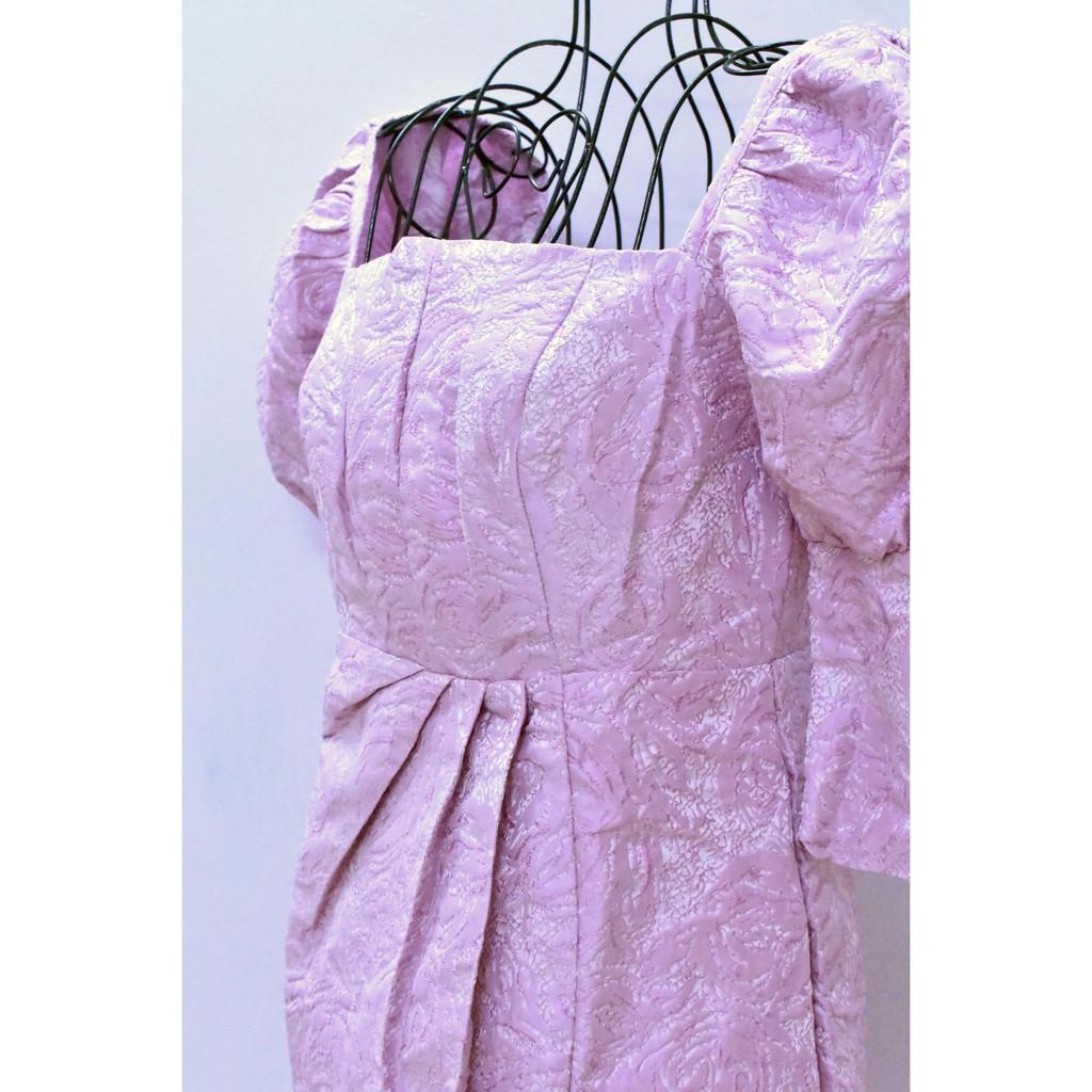 Mặc gì đẹp: Sang chảnh với Đầm dự tiệc sang trọng Vải Gấm, tay phồng, xẻ tà (BT052)