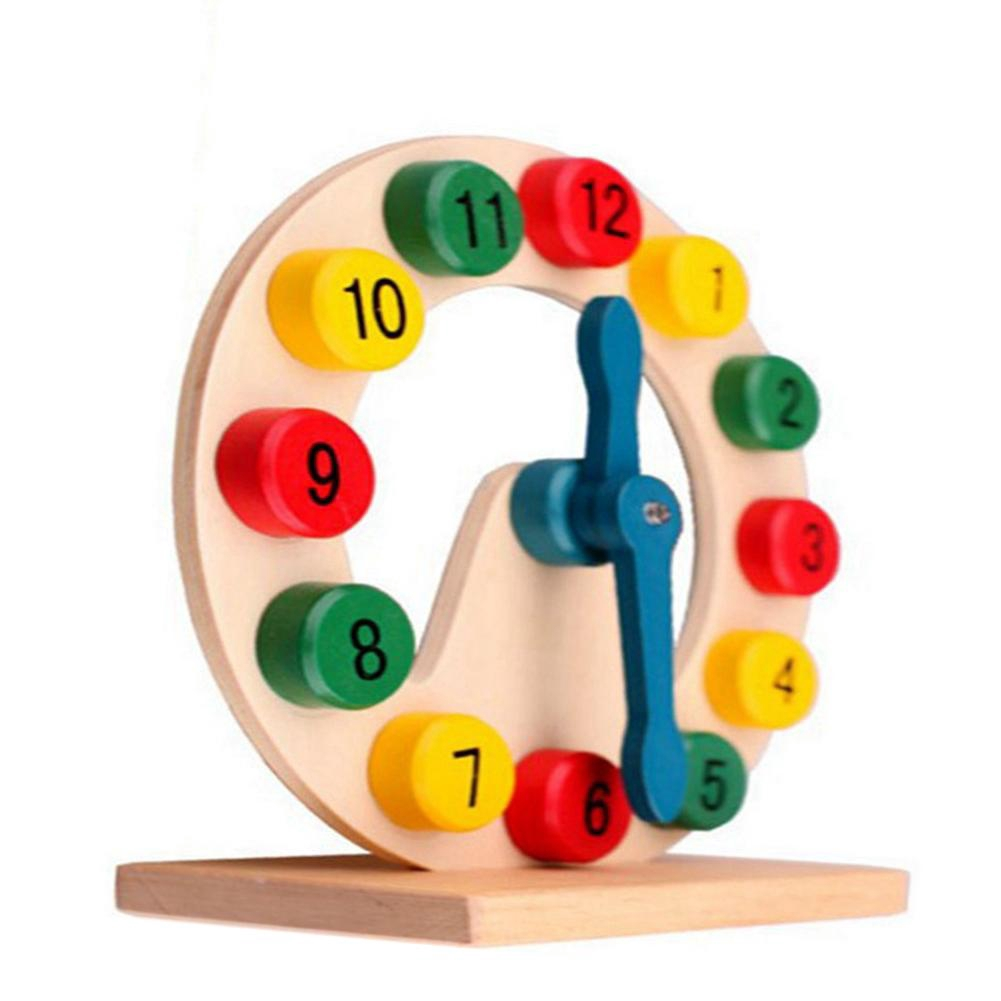 Durable Safe Wooden Clock Toy Learning Toys for Kids
