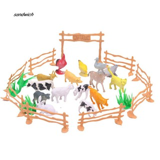 SDWC 15Pcs Cow Cattle Animal Fence Model Kids Toy Mini Farmland Landscape Accessories