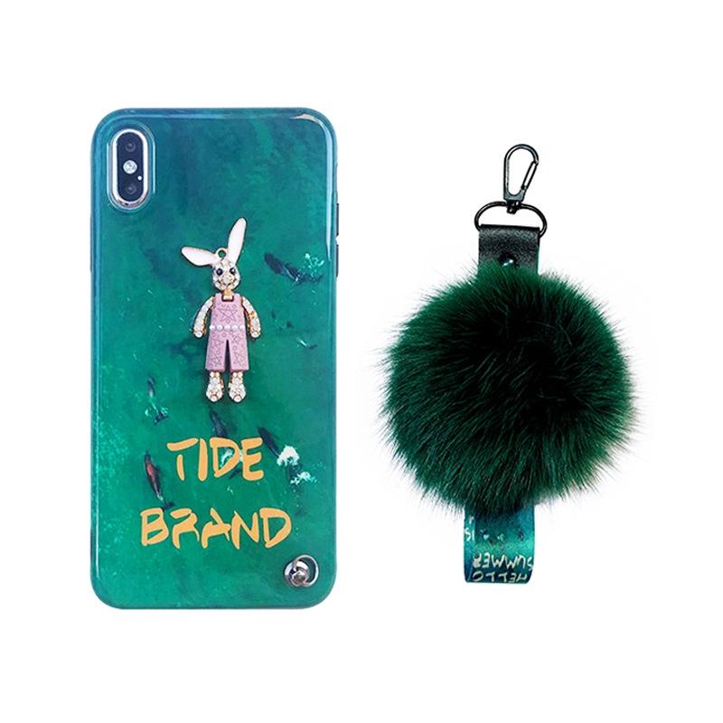 Ốp điện thoại đính đá hình thỏ dễ thương màu xanh ngọc cho IPhone XS Max