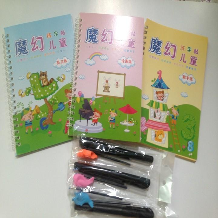 Set bộ 3 quyển tập viết, tập tô ( 3 quyển + 3 bút + 3 đệm + 6 ngòi...