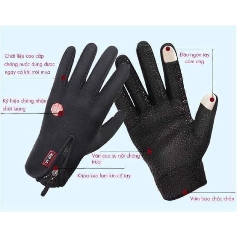 Găng tay giữ ấm, chống nước có cảm ứng điện thoại