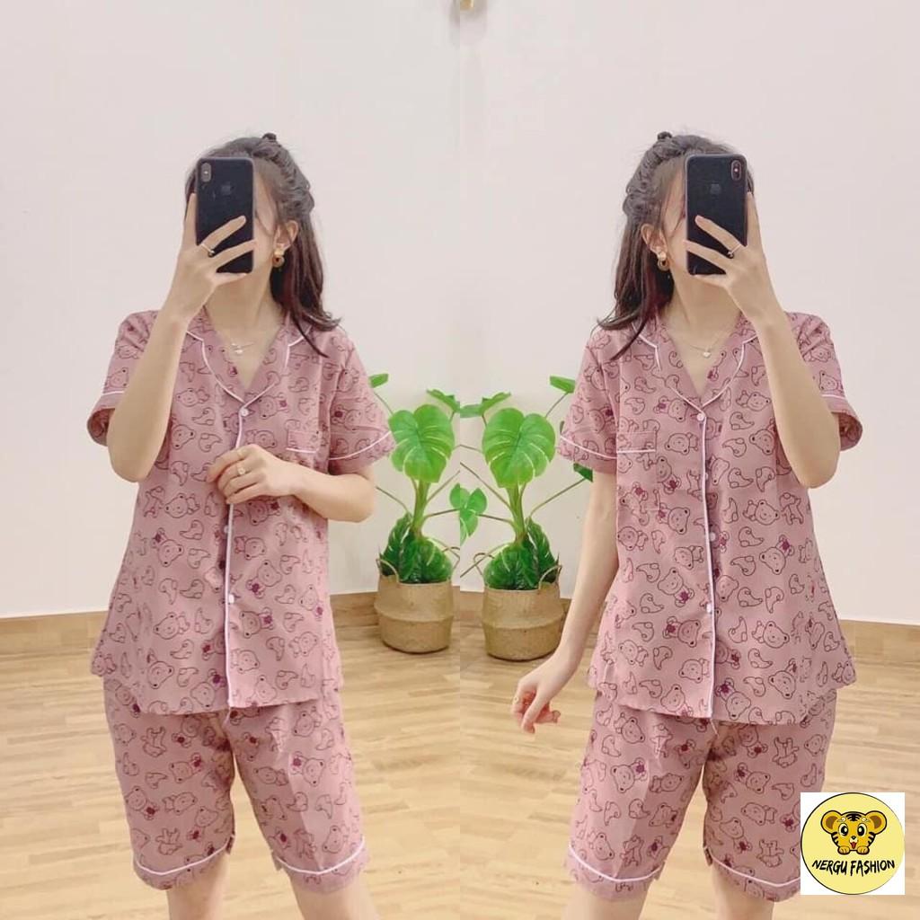 Set Bộ Pijama Lửng Kate Nữ Bộ Ngủ Áo Sơ Mi Thun Cộc Tay Quần Ngố