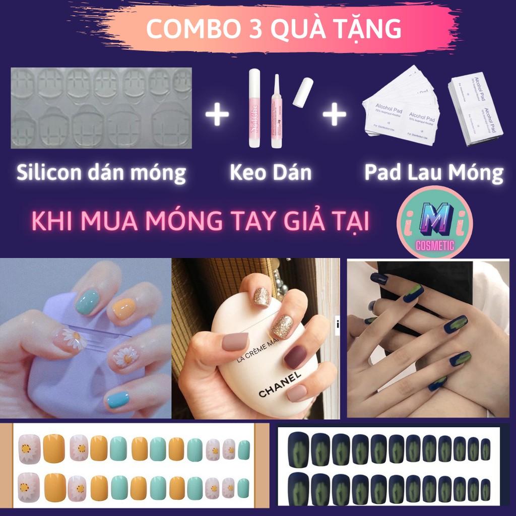 [Nhiều mẫu] Set 24 móng tay giả họa tiết 3D cao cấp  tặng kèm keo dán