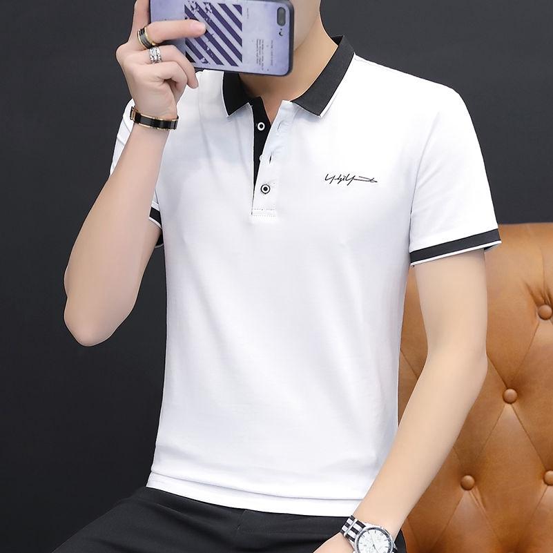 Áo thun Polo ngắn tay trơn màu kiểu dáng Hàn Quốc dành cho nam