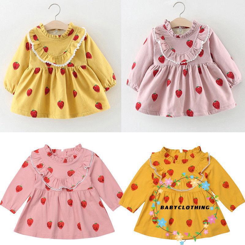 Đầm tay dài in hình trái cây dễ thương dành cho bé gái