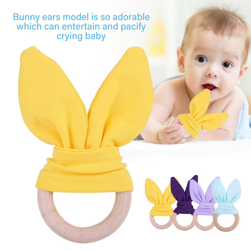 Baby Infant Natural Wooden Teether Bunny Teething Ring