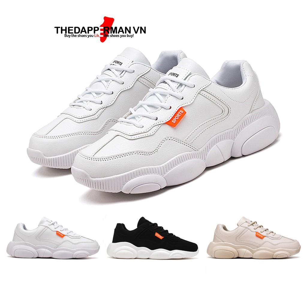 Giày sneaker nam thể thao THEDAPPERMAN XXD001 chất liệu da, đế cao su nhiệt dẻo, êm chân, chống trơn trượt, màu trắng