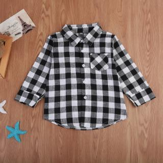 H-C★Baby Kids Girl Boy Casual Long Sleeve Tops Plaids & Checks Shirt Blouse