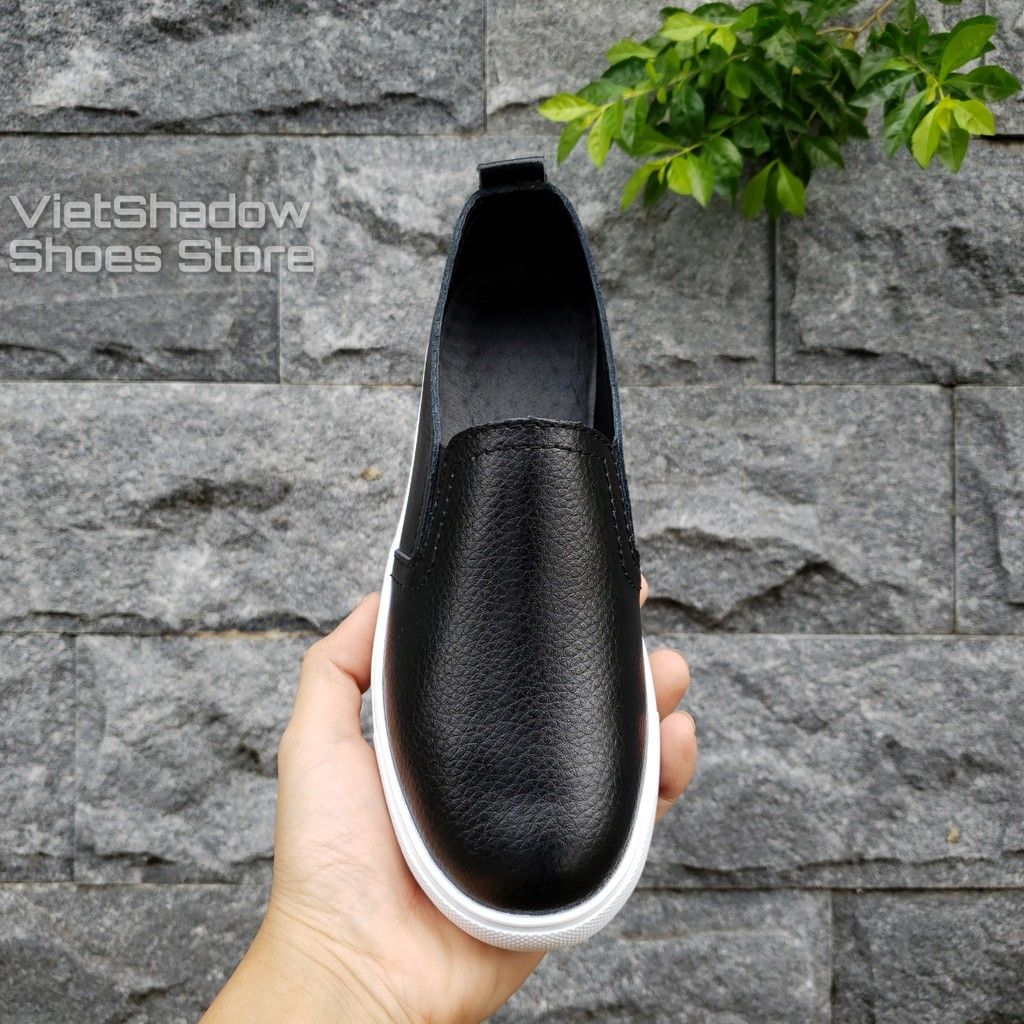 Slip on da nữ - Giày lười da nữ dáng classic - Chất liệu da bò phủ màu trắng và đen - Mã SP: 6688N