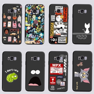 Samsung S8/S8+ Frosted Phone Case with Cartoon Pattern Black SM-G9500/9508/G9550