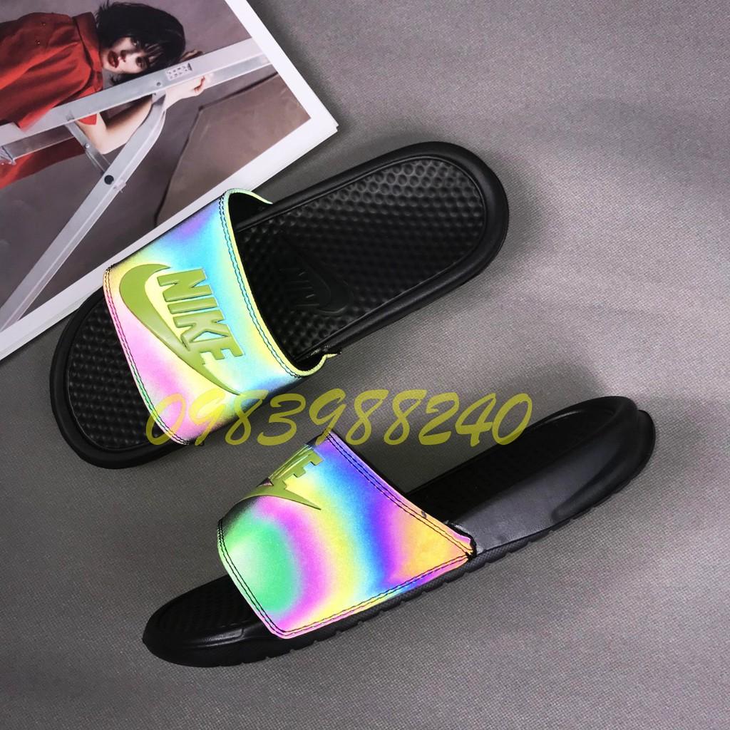 [Hộp Nike] Dép Nike Nk phản quang quai ngang nam đầy đủ tem, mác, lót dày, tem size in nhiệt trong lót, tặng hộp hãng