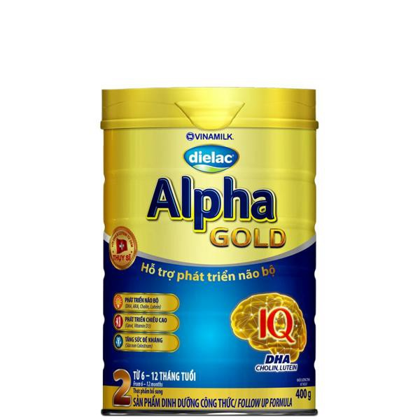 [TKB0718W3B-giảm3%-tốiđa20k] Sữa bột Dielac Alpha Gold 2: Hộp thiếc 400gram