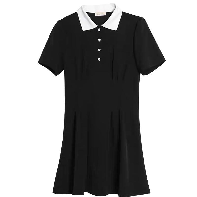 Mặc gì đẹp: Siêu xinh với  Đầm Cổ Polo Thắt Eo Màu Trơn Phong Cách Hàn Quốc Thời Trang Hè Cho Nữ