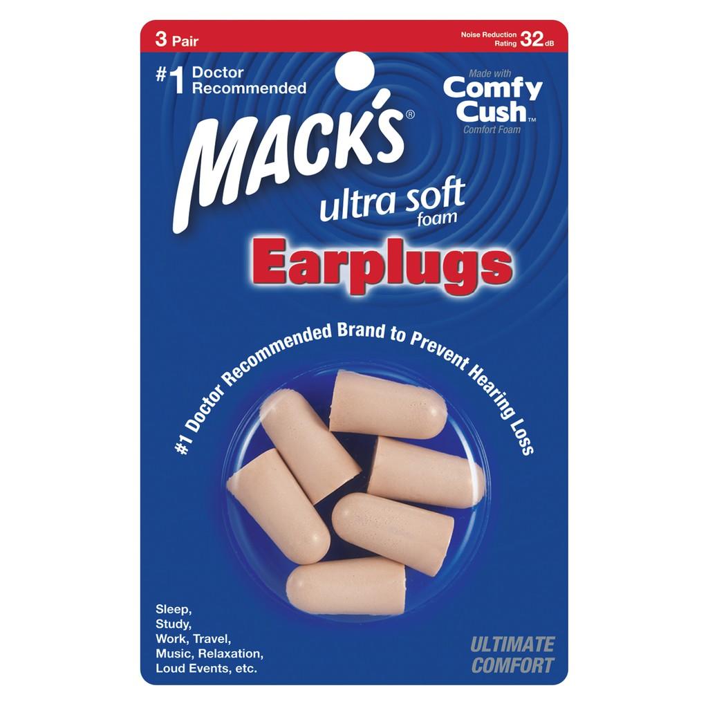 Hộp 3 đôi nút bịt tai chống ồn Mack's Soft Foam (Siêu mềm)