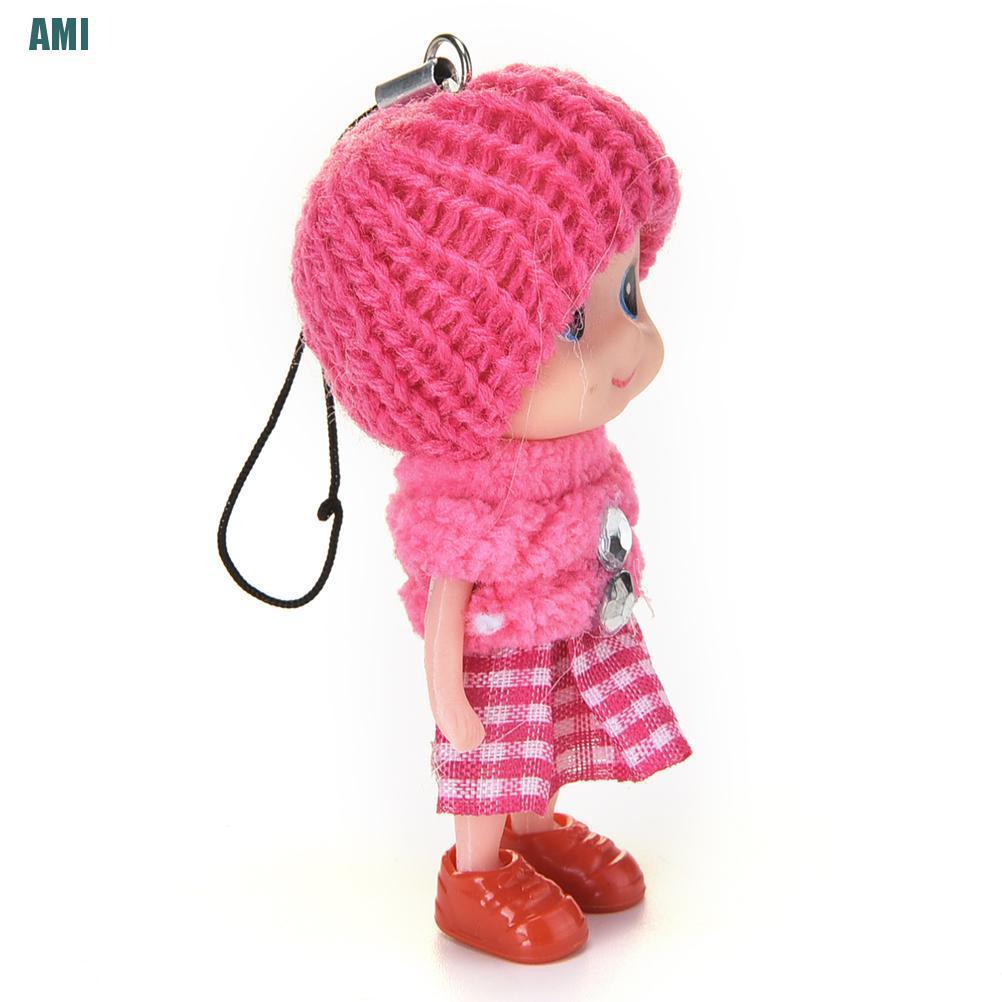 [D] 1 Pcs Soft Baby Dolls Interactive Mini Doll Phone Hanging Kids Children Toys 8cm (ghg)
