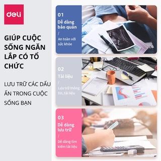 Hình ảnh File lá học sinh A4 Deli - 30/40 lá - Xanh dương/Hồng/Trắng - 1 chiếc - 72493 / 72494-3