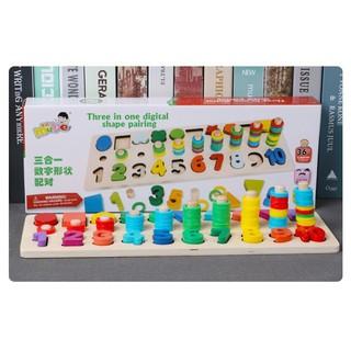 Giáo cụ Montessori cột tính học đếm và hình khối bằng gỗ 2 Trong 1 Bằng Gỗ – Tặng Ghép Hình 9 Mảnh