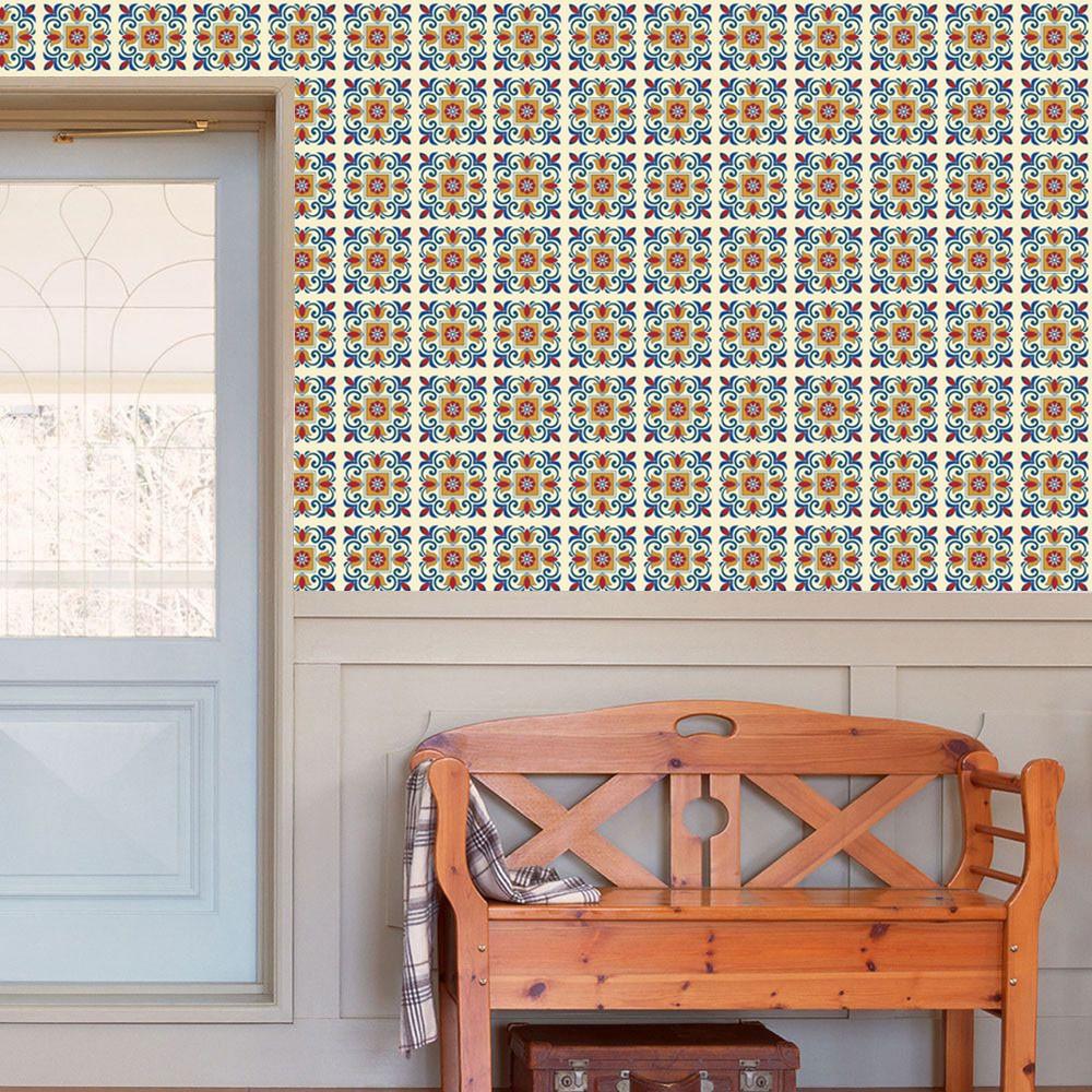 Bộ 12 Decal gạch bông - Decal dán tường, kính, sàn nhà, gỗ - Giấy dán tường