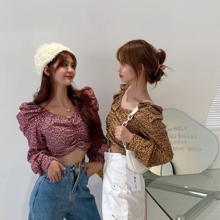 Pretty ❀ French Floral Women Long Puff Sleeve Blouse Ruffled Square Neck Crop Tops ❃