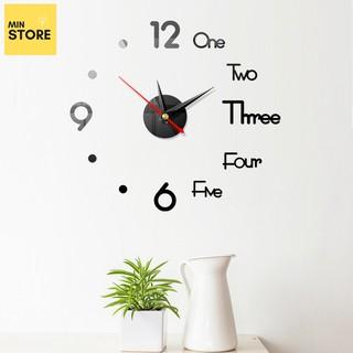 Đồng hồ trang trí dán tường 3D phong cách châu Âu độc đáo, Máy kim trôi êm ái - Min Store