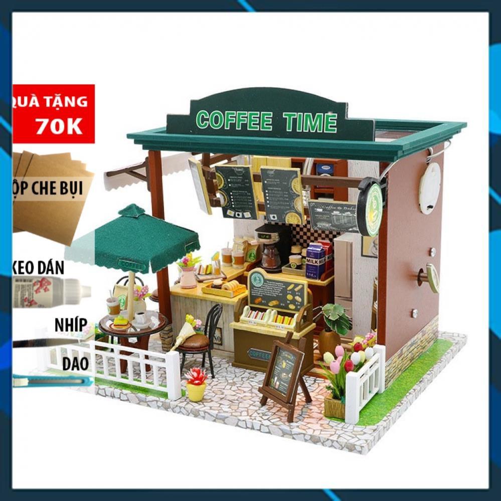 Mô hình nhà búp bê gỗ DIY Nhà búp bê Coffee Time – Tặng Tool và Mica Toy World