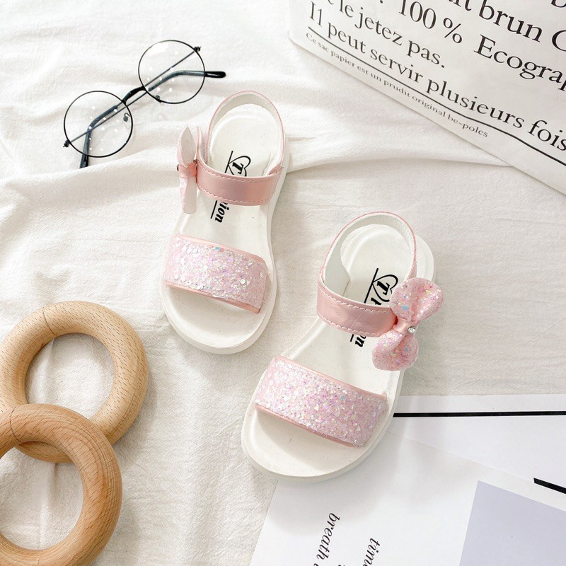 Sandals quai đính đá lấp lánh quai đính nơ NGHĨA BABY L3