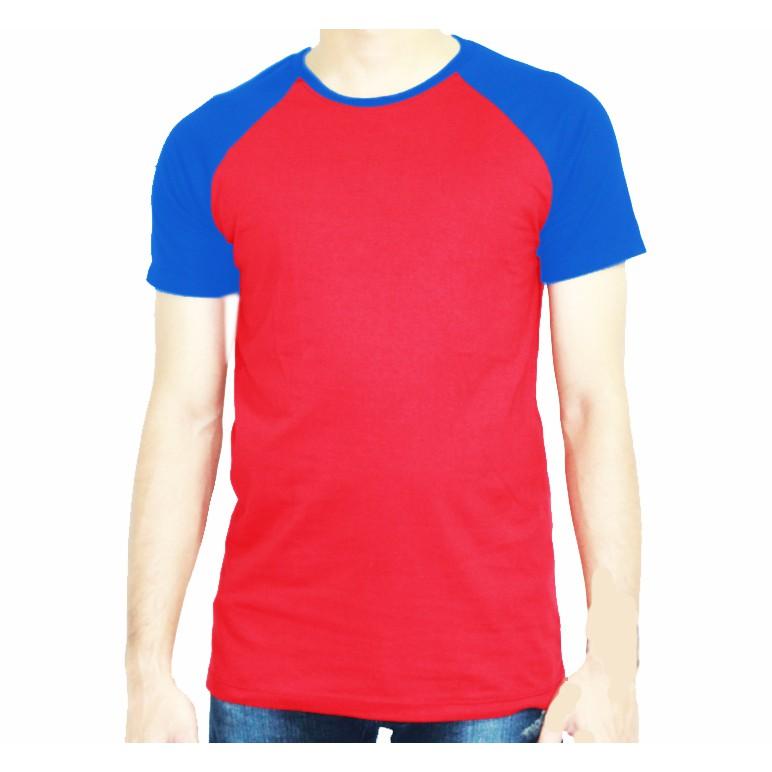 เสื้อยืดคอกลมสีทูโทน วัยรุ่นฮิต แดง-น้ำเงิน ไหล่สโลป