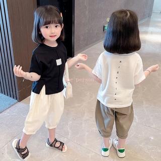 Bộ Áo Thun Tay Ngắn + Quần Yếm Thời Trang Mùa Hè Phong Cách Hàn Quốc Cho Bé Gái