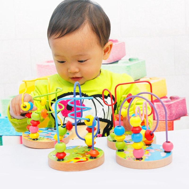 Baby Colorful Wooden Mini Around Beads Wire Maze Educational Toy Kids Game