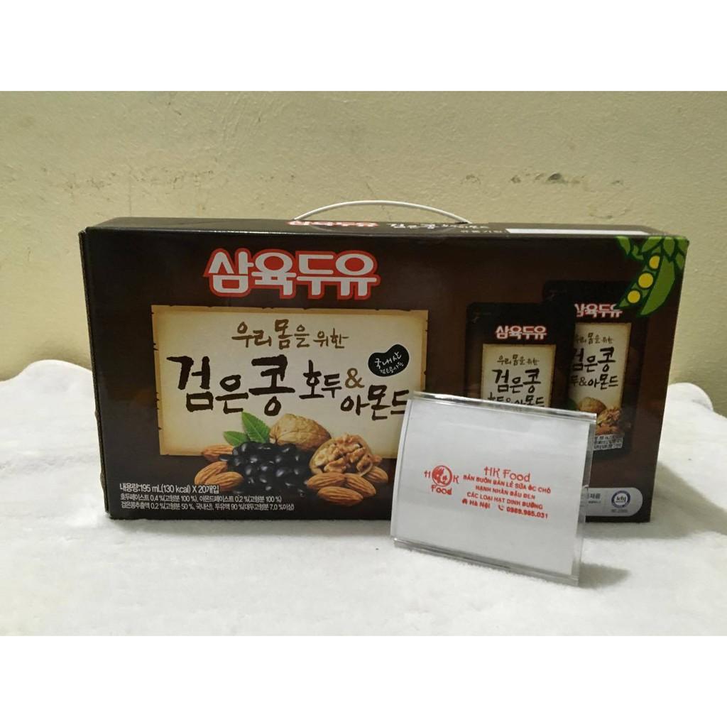 Sữa óc chó hạnh nhân đậu đen Hàn Quốc thùng 20 gói mỗi gói 195ml