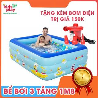 Bể Bơi Phao ❤️️ Bể Bơi 3 Tầng ❤️️ Hình Chữ Nhật(180x145x65) Cho Bé Thỏa Thích Vui Chơi Tắm Mát Mùa Hè