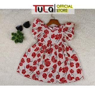 Váy Đầm Cho Bé Gái Họa Tiết Hoa Đỏ Tay Cánh Tiên Điệu Đà Vải Thô Hàn Quốc