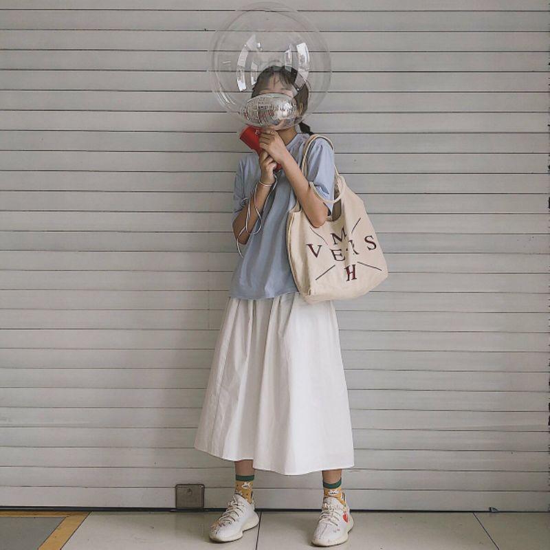 Chân váy dài trắng ulzzang, chân váy dài vintage phong cách Hàn Quốc