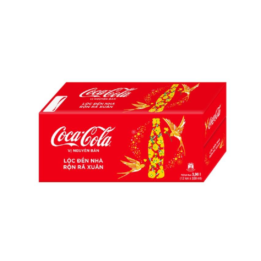 Thùng 12 lon Nước giải khát có gas Coca-Cola 330ml/lon - Bao bì Tết