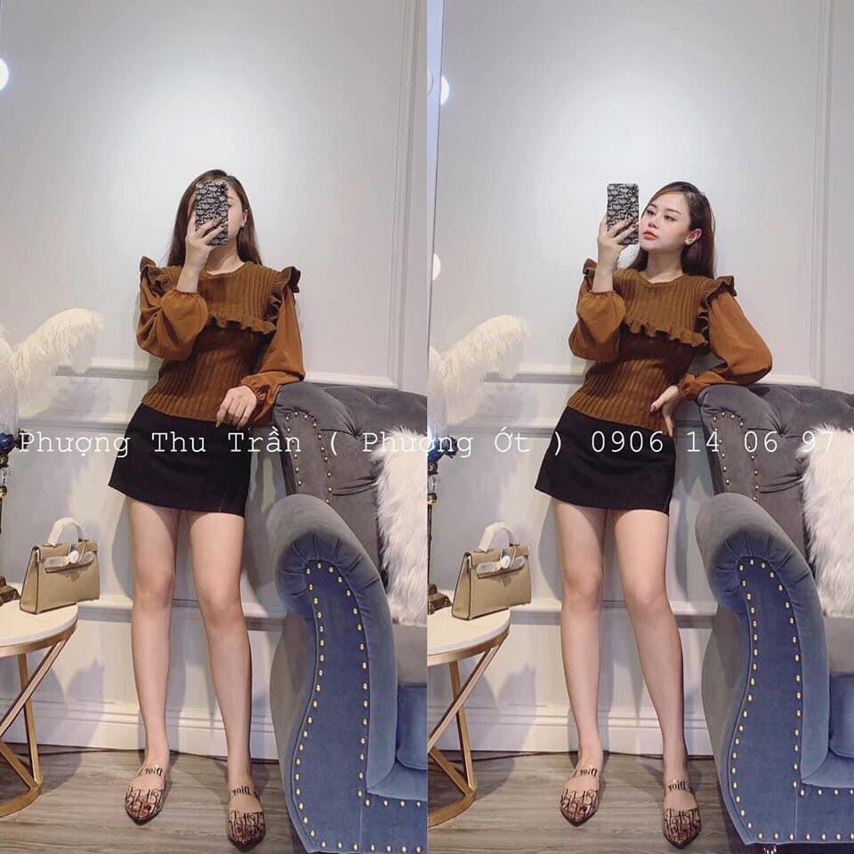 Áo len BÈO ngực đũa phối Voan (kèm ảnh thật,video)