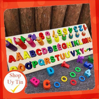 [ HÀNG LOẠI 1 ] Đồ chơi Bảng ghép chữ cái và cột tính học đếm cho bé- Logic toán học và tiếng việt