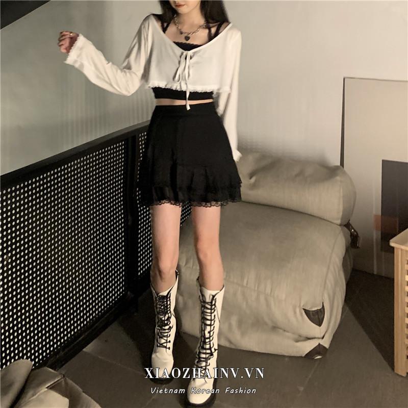 Xiaozhainv Áo Tay Dài / Áo Hai Dây Mảnh / Chân Váy Ren Điệu Đà Phong Cách Hàn Quốc 2 Màu Tùy Chọn Cho Nữ