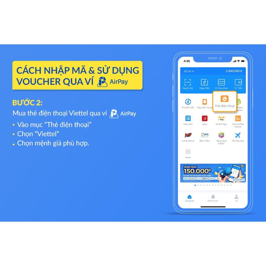 Toàn quốc [E-Voucher] - 20K nạp ĐT Viettel từ 50k - chỉ thanh toán với AirPay