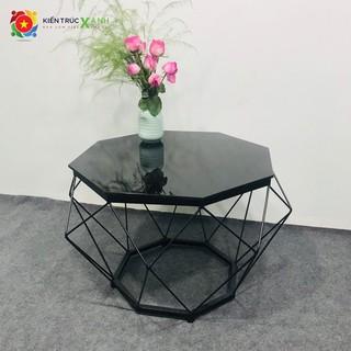 Bàn sofa, bàn trà kim cương [GIÁ GỐC], sơn tĩnh điện, mặt kính cường lực đen, SANG TRỌNG