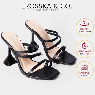 Dép cao gót Erosska mũi vuông xo ngo n cao 9cm màu đen _ EM062 thumbnail