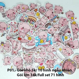 Sticker em lợn hồng P01 gói nhỏ full set dán nón bảo hiểm, notebook, bàn ghế, tủ lạnh, laptop,… size nhỏ 3-5cm